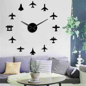 Flying Plane Fighter Jet Modern DIY Giant Wall Clock Acrylic Mirror Surface Sticker Airplane Wall Clock Aviator Pilot Home Decor 210325
