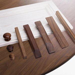 Handles & Pulls 2pc European Home Solid Wood Door Knob Cupboard Black Walnut Wardrobe Drawer Furniture Hardware Accessories