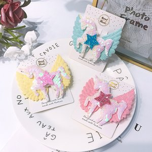 Korean Fashions Quality Kids Girls Hair Accessories INS 4 Colors Sequins Mermaid Unicorn Hairclips Butterfly Headband Hairbows