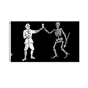 Pirate Bartholomew Roberts flag Vivid Color UV устойчивый к устойчивому устойчивому двойным сшитом сшитые украшения 90x150см цифровой печати оптом