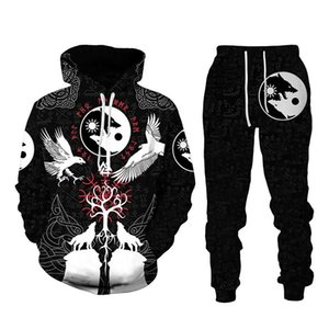 Men's Tracksuits Viking Style 3D Hoodie Trousers Sportswear Clothing Suit Personality Autumn Two-piece Large Size