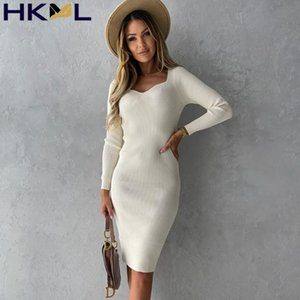 Casual Dresses 2021 Autumn And Winter Sexy Long-sleeved Square Collar Solid Color Stitching Elegant Bodycon Knitted Dress