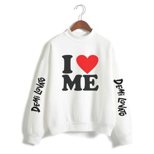 Demi Lovato Casual Pullovers Turtleneck Loose Hoodie Sweatshirt All-match Leisure 2021 Spring Warm Long Sleeve Lady Clothes Women's Hoodies