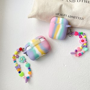 Homemade Pink Rainbow AirPods 1 2 pro Earphone Case Hyuna Flower Lanyard Wireless Bluetooth Protective Accessories