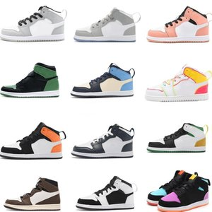 2021 Infant TS Kids Basketball Shoes Dark Mocha Trainers Edge Glow Volt Gold High Light Smoke Grey Candy Multicolor Small Big Boy Girl Toddlers Sneakers igital Pink