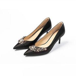 KMEIOO 우아한 웨딩 신발 여자 보석 하이힐 지적 발가락 얇은 얕은 펌프 라인 석 스틸레토 신부 드레스