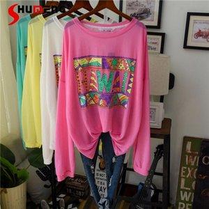 Yaz Buz Ipek Uzun Kollu T-shirt Kore Tarzı Gevşek Mektubu Kazak Klima Gömlek Güneş Koruma Kadınlar En Tee Kadınlar