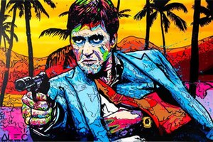 Alec Monopoly Artworks Scarface Gun at table Large Oil Painting Home Wall Decor high quality Handpainted or HD Print Art on Canvas Pictures , F210329