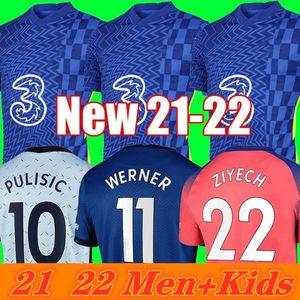Tailândia quarto 21 21 22 22 Werner havertz chilwell ziyech futebol jerseys 2021 2022 Camisa de futebol azul Pulisic camisa kante montagem 4 homens crianças conjunto kits tops