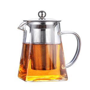 Clear Glass Teapot with Infuser Filter Heat Resistant Square Kung Fu Tea Set Thickening Coffee Milk Oolong Pot Kettle for Microwavable and Stovetop