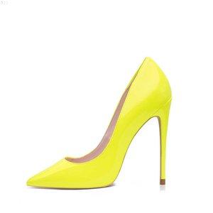 GENSHUO Brand Shoes 10 12CM Heels Women Pumps Stiletto Neon Yellow Sexy Party High Big Size 10 11 12 210610 1MK75XFK