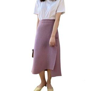 skirt Waist Knitted Length Long Pure Color Women Skirt Faldas Jupe Femme Saia