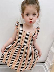 Summer Baby Girls Designer Dress Striped Bowknot Ruffle Sleeveless Children Princess Dress British Style Kids Floral Sundress Princess Dress