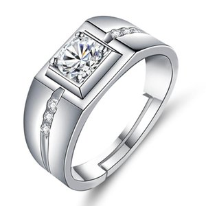 Wedding Rings Men's Ring Plated 925 Silver Finger Open Trendy Men Diamond Personality Ornament Domineering Wide