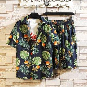남성용 Tracksuits oein 패션 하와이 프린트 짧은 소매 셔츠 세트 해변 코코넛 반바지 여름 매일 2 조각