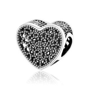Hanzhishi Fit Original Europe Charms Bracelet 925 Sterling Silver Heart Open-Openwork Charm Beads Bijoux Faire des accessoires DIY