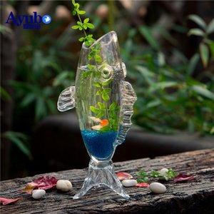 Aquariums Creative Aquarium Fish Shaped Ecological Goldfish Tank Small And Medium Sized Glass Landscaping Table Top Bucket
