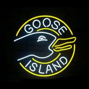 GOOSE ISLAND Beer Logo Neon Sign Custom Handmade Real Glass Tube Bar Hotel KTV Store Party Company Display Neon Signs 17X14