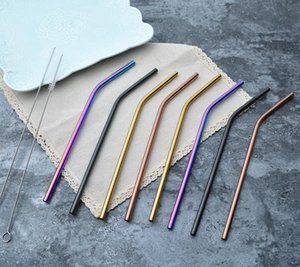 304 Colorful Stainless Steel Straw Reusable Drinking Bent Straight Metal Straw Tea Coffee Tools Straw design Free