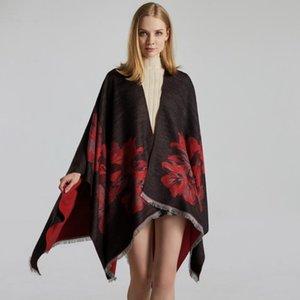 Scarves 2021 Women's Double-Sided Tassel Fringe Shawl Fashion Cashmere Feel Jacquard Split Thick Warm Cape Halloween