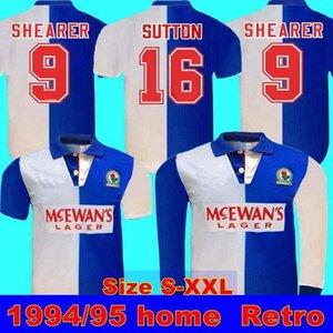 994 95 Blackburn Ретро Домашняя рубашка Ширеграмма 9 Blackburn Rovers с длинным рукавом Ретро 94 95 Blackburn Retro Sutton 16 Ripley 7 Jersey