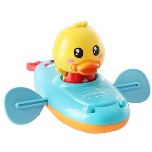 Детская ванна Вода Игры Игрушки Цепные Гребные Лодка Плавать Плавающие Мультфильм Утка Младенческая Детская Раннее Образование Ванная комната Пляжные подарки Оптом