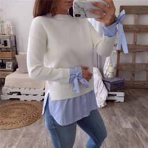 Womens Casual Long Sleeve Striped Slim Elegant Bow Pullover Tops Blouse Shirts Winter Spring Female Stitching Hot