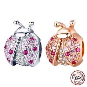 Новое поступление стерлингового серебра 925 серебро 925 розовый кубический циркон насекомых подвески бусины подходят для браслетов DIY ювелирных изделий