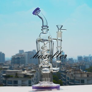 12.5 inchs Freezable Coil Glass Water Bongs Hookahs Shisha Smoke Tobacco Pipe klein Recycler Dab Rigs unique Cigarette Accessory with 14mm bowl