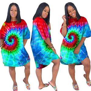 Kadın Giysileri Seksi Bayanlar Parti Elbiseler Yaz Moda Kravat Boyama Düzensiz Salıncak Mini Kulübü Plaj Elbise Rahat Maxi Giyim Kadın G530HQI
