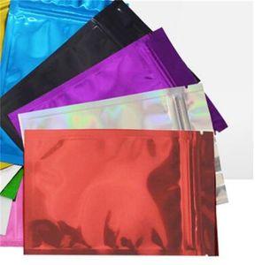 100Pcs lot Zipper Top Mylar Foil Bag Reclosable Aluminum Foil Zip Lock Package Bag Heat Sealable Food Grocery Sample Mylar Bags 218 V2