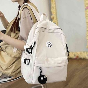 College Student Women School Bags White Cute Female Backpack Waterproof Kawaii Book Bag Ladies Teen Girl Backpacks Fashion Nylon 210911