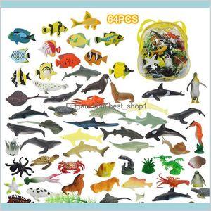 64Pcs Mini Marine Animals Model Toys Kids Science Education Simulation Organisms Set Gifts For Children N 97Blu