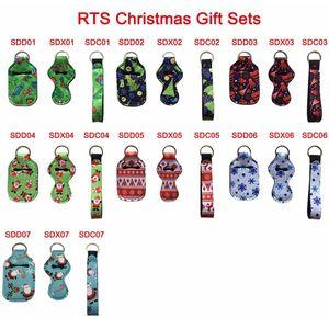 3 pezzi Travel Neoprene Style Christmas Style Keychain Kit Kit Comprections 30ml Mano Sanitizer Wristlet Lanyard Cover rossetto Keychain LLA571
