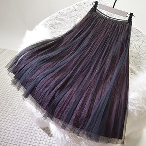 Skirts Pleated Skirt Lady Red Spring Summer Long Mesh Tulle Slim High Waist Streetwear Shiny Striped Princess Cute Womens