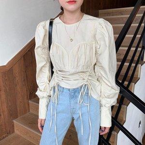 Korean Blouses Drawstring Pleated Slim Waist Shirt Puff Long Sleeve 2021 Autumn Women Tops Fashion Solid Blusas 6B564 Women's Blouse