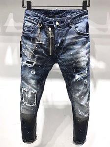 21s Mens jeans designer Ripped Skinny Trousers Moto biker hole Slim Fashion Brand Distressed ture Denim pants Hip hop Men D2 A231 dsquared2 dsquared 2 dsq
