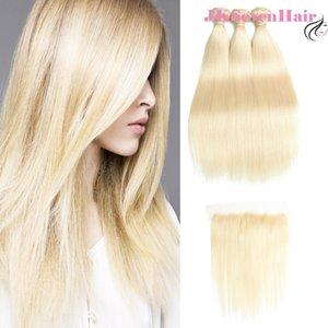 Блондинка 613 прямой бразильский Малайзийский ремил девственницы человеческие волосы 3 пакета с 13x4-дюймовыми кружевами фронтальные русские европейские Weaves двойное расширение WEFTS