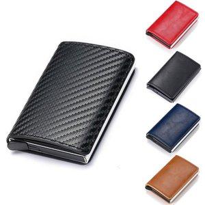 ألياف الكربون جلد محفظة الرجال السحرية ثلاثي أضعاف بو رقيقة جدا الأزياء الأعمال عارضة walletmini حامل بطاقة محافظ النساء