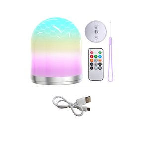 Night Light RGB LED Bedside USB Atmosphere Lamps with Remote Control Colorful Camping Lantern For Home Decor Table Lamp Kids Baby Bedroom Gift CRESTECH168