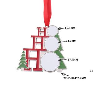 Pendant Sublimation Christmas Ornaments Metal Thermal Transfer Printing Ornament Blanks Customized Gift Diy Tree HWB8408