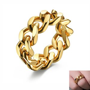 8MM Simple Chain Link Men's Ring Hip Hop Stainless Steel Thumb Finger Band Fashion Charm Cool Jewelry US Size 6-13