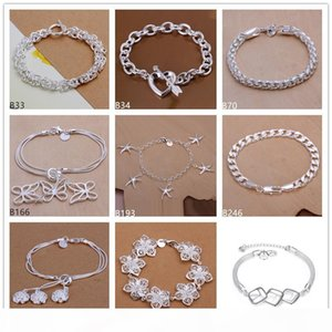 Online for sale fashion women's 925 silver Bracelet 8 pieces a lot mixed style, butterfly heart flower sterling silver Charm Bracelet D