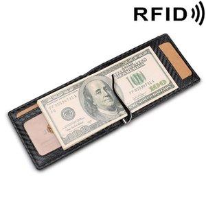 Men's Wallet Money Clip RFID Antimagnetic Card Bag Holder Genuine Leather Purse Thin Slim Luxury Fashion Vintage Advanced 2021 Wallets