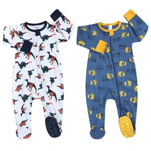 Jumpsuits Baby Zipper Overall Romper Born Cartoon Printed Zip Front Non-slip Footed Sleeper Pajamas Boys Girls Winter Warm