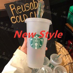 Starbucks 24OZ 710ml Plastic Tumbler Reusable Clear Drinking Flat Bottom Cup Pillar Shape Lid Straw Mug Bardian Fast Shipping