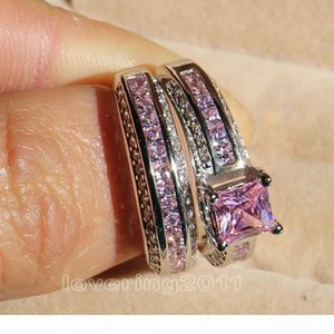 001 Victoria Wieck Princess cut Pink sapphire Simulated diamond 10KT White Gold Filled engagement Wedding Band Ring Set Sz 5-11 Gift