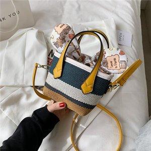 Kadın Çanta Avrupa Tarzı Dokuma Renk Kontrast Kova Çanta Ilmek İpli Messenger Moda Bayanın Omuz Çantaları