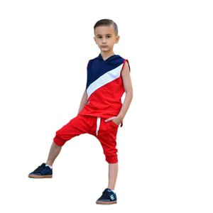 Boys Clothing Sets Baby Suits Kids Clothes Wear Summer Cotton Sleeveless Hooded Sweater Sports Pants Casual Suit Tracksuit 2Pcs B8251