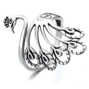925 Sterling Silver Peafowl Band Finger Ring Adjustable Open Animal Rings Cute Lovely Peacock Jewelry